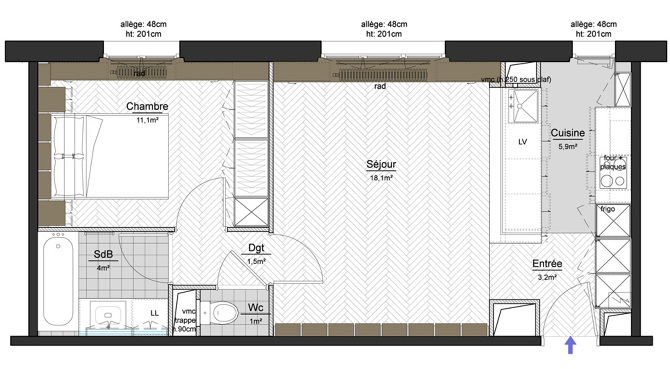 Carreau du temple charlotte vauvillier architecte d 39 int rieur - Plan appartement 30 m2 ...